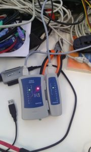 a device (Cable tester) used to test your network cable if its working or not after creating one